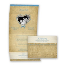 Burlap Heart Photo - Cornflower - Seal and Send Invitation