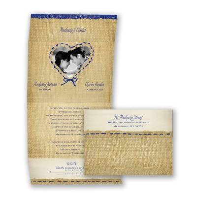 Burlap Heart Photo - Regency - Seal and Send Invitation