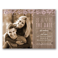 Lovely Lace & Wood - Cameo - Save the Date