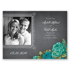 Romantic Chalkboard Roses - Malibu - Save the Date