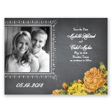 Romantic Chalkboard Roses - Sunbeam - Save the Date