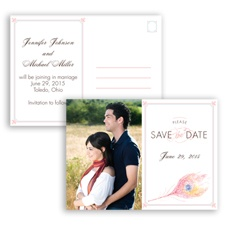 Peacock Glitter - Coral Reef - Save the Date Postcard
