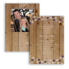 Rustic Posies - Plum - Invitation