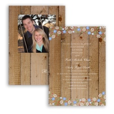 Rustic Posies - Bluebird - Invitation