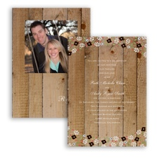 Rustic Posies - Chocolate - Invitation