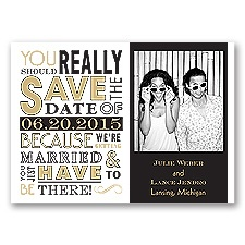 Ga Ga Photo - Golden - Save the Date Magnet