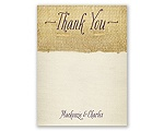 Burlap Heart Photo - Thank You Card and Envelope
