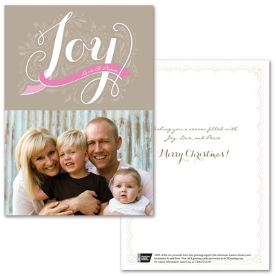 Joyful Traditions Photo Card - Pink Ribbon