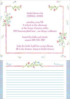 Pink Recipe Cards For Bridal Shower Pink Florals Bridal Shower