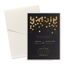 Geometric Border Layered Foil Wedding Invitation - Pocket - Black