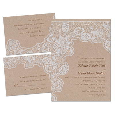 ... Wedding · Wedding Invitations · Natural Lace Wedding Invitation Kit