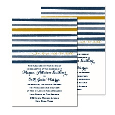 Blissful Stripes Foil Wedding Invitation