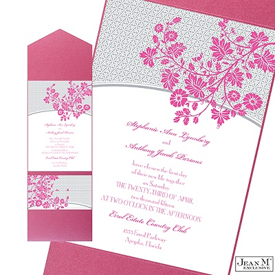 Garden Trellis Wedding Invitation with Pocket - Fuchsia