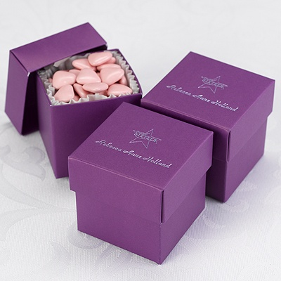 Wedding Gift Boxes Michaels : Home ? Reception ? Personalized Favors ? Purple Lidded Favor Boxes