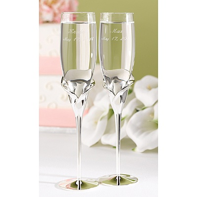 reception toasting flutes silver calla lily toasting flutes