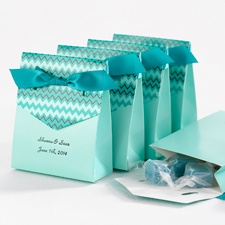 Bright Chevron Favor Boxes - Teal