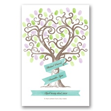 Romantic Tree Guest Signature Poster - Lagoon