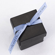 Personalized Blue Satin Favor Ribbon
