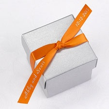 Personalized Orange Satin Favor Ribbon