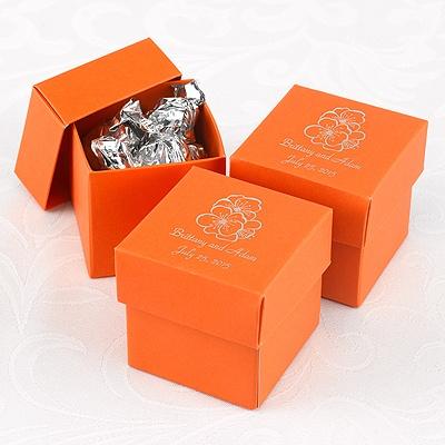 Orange Lidded Favor Boxes