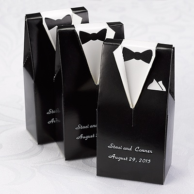 Wedding Gift Boxes Michaels : Home ? Reception ? Personalized Favors ? Black Tuxedo Favor Boxes