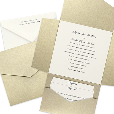 Wrapped in Gold Wedding Invitation with Pocket