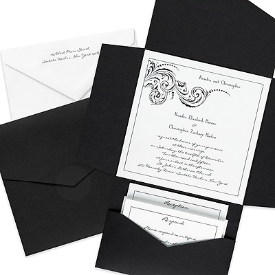 Elaborate Black Wedding Invitation with Pocket