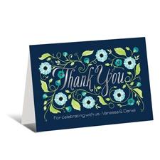 Garden Whimsy Foil Thank You Card  - Aqua