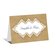 Lacy Burlap Thank You Card