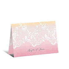 Watercolor Lace Glitter Thank You Card