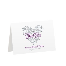 Calligraphy Heart Thank You Card