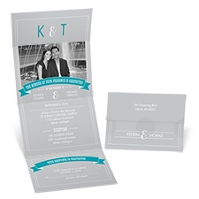 Typography Banner Photo Seal and Send Wedding Invitation