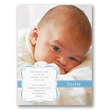 Blue Crest Photo Birth Announcement
