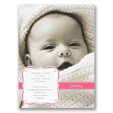 Fuchsia Crest Photo Birth Announcement