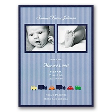 Racing Stripes Photo Birth Announcement