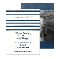 Blissful Stripes Foil Photo Save the Date
