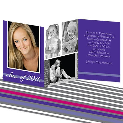 Regal Stripe Photo Graduation Invitation