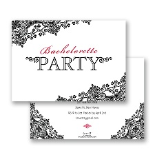 Lacy Black Bachelorette Party Invitation