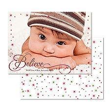 Believe Foil Photo Holiday Card