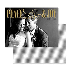 Triple Wishes Foil Photo Holiday Card