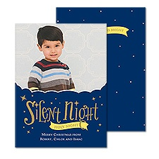 Sparkling Sky Foil Photo Holiday Card