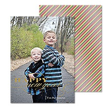 Merry Swirl Foil Photo Holiday Card