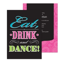 Eat Drink Dance Bachelorette Party Invitation