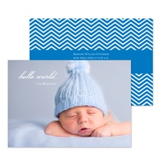 Tiny Chevron Photo Baby Announcement - Blue
