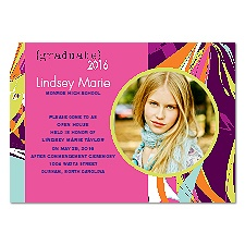 Swirl Art Photo Graduation Invitation