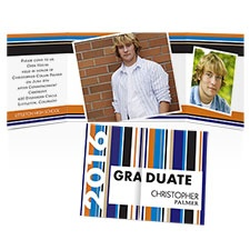Hot Stripes Photo Graduation Invitation
