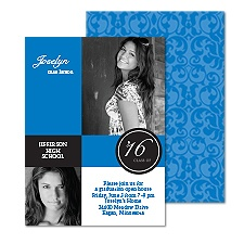 Colorful Damask Photo Graduation Invitation - Blue