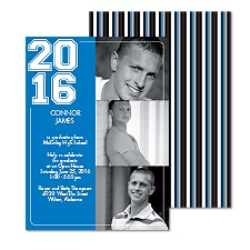Super Stripe Photo Graduation Invitation - Blue