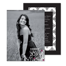 Urban Damask Photo Graduation Invitation