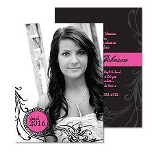 Modern Filigree Photo Graduation Invitation - Fuchsia